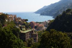 View from the promontory of the natural inlet, Vietri sul mare, royalty free stock images