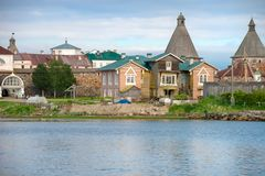 View of the Prosperity Cove on a polar summer day. Solovki Islands, Arkhangelsk region, White Sea royalty free stock photography