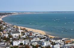 View of Provincetown beach and the curve of the bay at the tip of Cape Cod from the top of the Pilgram Monument. A View of Provincetown beach and the curve of stock image