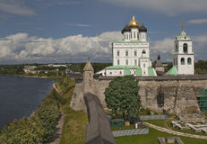 View of Pskov Holy Trinity Cathedral Royalty Free Stock Photos