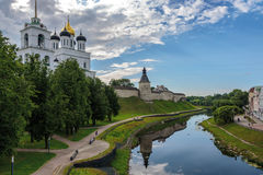 View of the Pskov Kremlin from the bridge Royalty Free Stock Photos