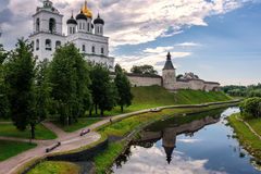 View of the Pskov Kremlin from the bridge Royalty Free Stock Image