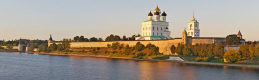 View of Pskov Kremlin and Holy Trinity Cathedral Stock Photography