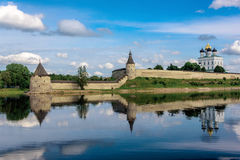 View of the Pskov Kremlin from Velikaya River in the summer Royalty Free Stock Images