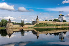 View of the Pskov Kremlin from Velikaya River in the summer Stock Photography