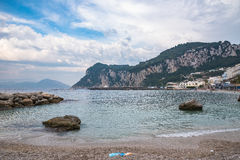 View of public beach on Capri Island royalty free stock image