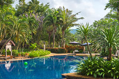 View of public  beautiful swimming pool in tropical resort. Koh Chang Thailand Stock Image