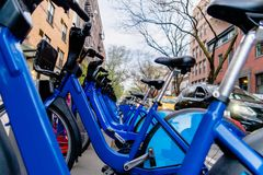 View at public bicycles in Manhattan, New York City royalty free stock images