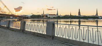 View from a public domain embankment on old Riga city, Europe Royalty Free Stock Photos