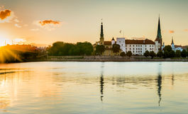 View from a public domain embankment on old Riga city, Europe Royalty Free Stock Photo