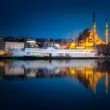 View of public ferry and old district of Istanbul Royalty Free Stock Photo