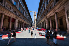 View of a public outdoor oldtimer car exhibition at the Piazzale Stock Photography