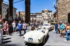 View of a public outdoor oldtimer car exhibition at the Piazzale Stock Image