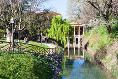 View of public park Giardini Salvi in Vicenza. Travel to Italy - view of urban public park Giardini Salvi Garden of Valmarana Salvi at canal of Seriola river in Royalty Free Stock Photography