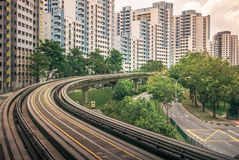 View of public residential housing apartments from LRT station in Bukit Panjang. Stock Photo