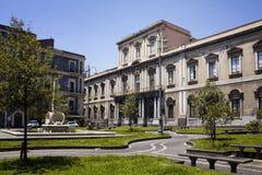 View of public school in Catania. View of public school named Convitto Nazionale M. Cutelli Liceo Classico Annesso and city square in Catania city in Italy Royalty Free Stock Photos