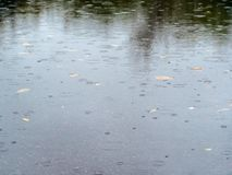 Puddle on road puddle in autumn rain royalty free stock photo