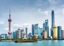 View of Pudong skyline Lujiazui in Shanghai, China Royalty Free Stock Photos