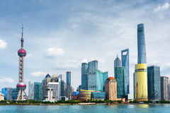 View of Pudong skyline. Lujiazui, Shanghai, China. View of Pudong skyline (Lujiazui) in Shanghai, China. Skyscrapers of downtown on waterfront. The Shanghai Royalty Free Stock Photos