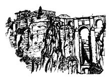 View of the Puente Nuevo bridge over the river Guadalevin in Ronda, Andalusia, hand drawn sketch graphic  Stock Photos