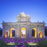 View of Puerta de Alcala at sunset Stock Images