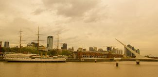 View of Puerto Madero, with the frigate Sarmiento and the Puente Stock Photography