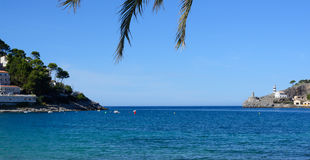 View in Puerto Soller with lighthouse Stock Image
