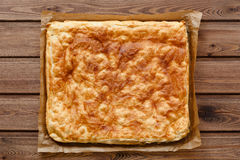 View of a puff pastry pie. Top view of a puff pastry pie royalty free stock photos