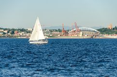 View of Puget Sound with Blue Skies and Downtown Seattle, Washington, USA royalty free stock photography