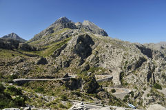 Mountain Road under Puig Major. The view on Puig Major and the mountain road to Sa Calobra in Mallorca - Spain Stock Photo