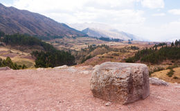 "View from Puka Pukara, above Cusco, Peru. Puca Pucara, which means ""red fort, was an Inca military and administrative facility Royalty Free Stock Photo"