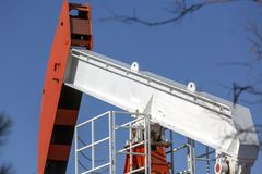 View of Pumpjack at Daylight Oil Industry stock photo