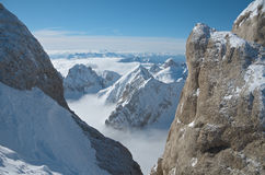View from Punta Rocca, Marmolada. View to the south from Punta Rocca, Marmolada, Dolomites, Italy Royalty Free Stock Image