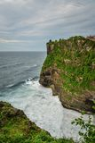 View from Pura Luhur Uluwatu temple. Bali, Indonesia. Amazing landscape - cliff with blue sky and sea Royalty Free Stock Photos