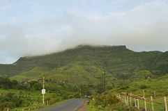 View of Purandar Fort in rainy season, Pune. Maharashtra Stock Images