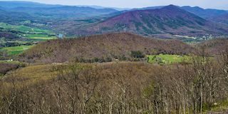 View of Purgatory Mountain and James River - 2. A view of Purgatory Mountain and the James River from the Blue Ridge Parkway, Virginia, USA royalty free stock images