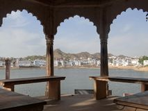 East arbor on the lake in Pushkar royalty free stock images