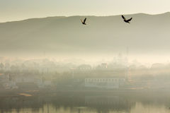 View of Pushkar City in India on a fog morning Stock Images
