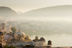 View of Pushkar City in India on a fog morning Royalty Free Stock Photography
