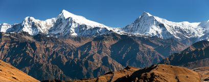 View of Putha Churen Himal and Dhaulagiri Himal Stock Photography