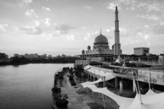 View of the Putra Mosque in the cloudy day. Black and White Landscape Orientation stock image