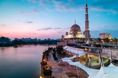 View of Putra Mosque just before blue hour. Long Exposure Landscape Orientation stock photo