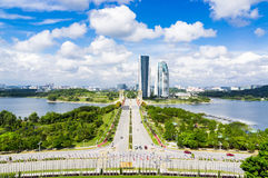 View of Putrajaya city and blue sky. Stock Photo
