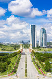 View of Putrajaya city and blue sky. Royalty Free Stock Images