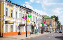 View of Pyatnitskaya street in Moscow with restavrated historica Stock Photo