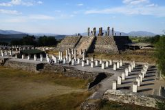 View from Pyramid C toward Pyramid B, Tula archaeological site, Mexico stock photography