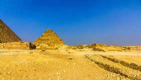 View of the Pyramid of Henutsen (G1-c) in Giza Stock Photos