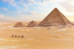 View on the Pyramid of Menkaure and the three small pyramids, Giza, Egypt stock photos