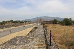 View of the Pyramid of the Moon from the Avenue of the Dead in the city of Teotihuacan royalty free stock photo
