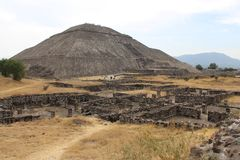 View of the Pyramid of the Sun from the Avenue of the Dead in the city of Teotihuacan. View of the Pyramid of the Sun, from the Avenue of the Dead in the pre stock photos